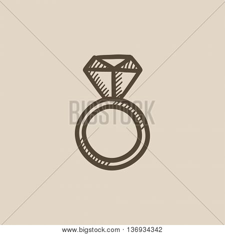 Engagement ring with diamond vector sketch icon isolated on background. Hand drawn Engagement ring with diamond icon. Engagement ring with diamond sketch icon for infographic, website or app.