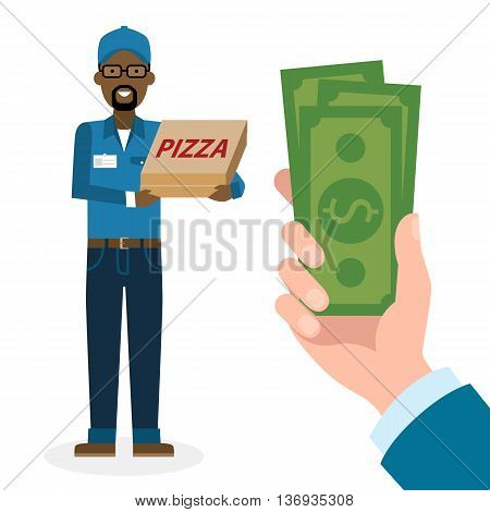 Money for delivery. African american male cartoon character. Pizza man gets money. Hand holding dollars for pizza. Happy smiling pizza guy. Pizza restaurant. Fast delivery.