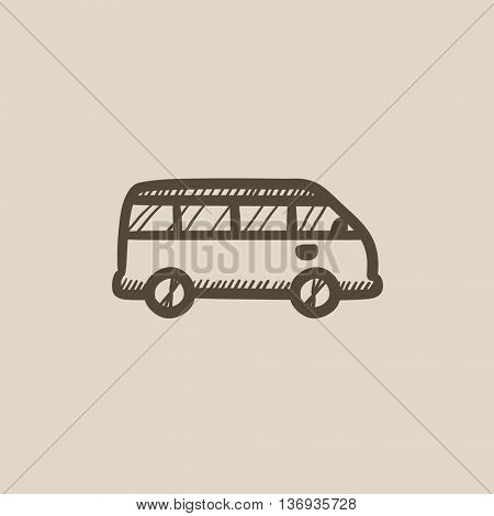 Minibus vector sketch icon isolated on background. Hand drawn Minibus icon. Minibus sketch icon for infographic, website or app.