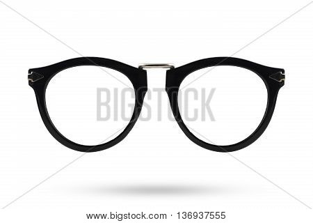 Black glasses style isolated on white background.