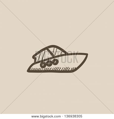 Speedboat vector sketch icon isolated on background. Hand drawn Speedboat icon. Speedboat sketch icon for infographic, website or app.
