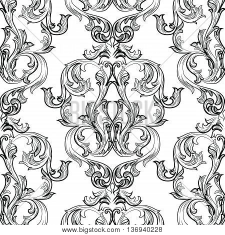 Vector Vintage Damask Pattern ornament Royal style. Ornate floral acanthus element for fabric textile design wedding invitation cards. Black and white color