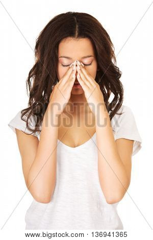 Young teenager with sinus pain.