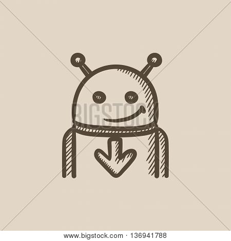 Robot with arrow down vector sketch icon isolated on background. Hand drawn Robot with arrow down icon. Robot with arrow down sketch icon for infographic, website or app.
