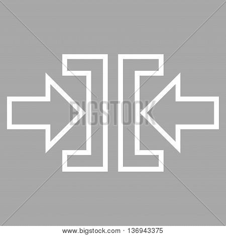 Pressure Horizontal vector icon. Style is outline icon symbol, white color, silver background.