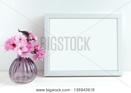 Pink Blossom styled stock photography with white frame for your own business message promotion headline or design great for blogging and social media, or to announce an event, celebration or wedding