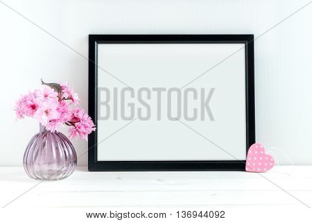 Pink Blossom styled stock photography with black frame for your own business message promotion headline or design great for blogging and social media