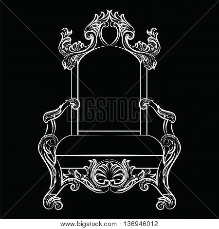 Baroque luxury style furniture. Chair throne with luxurious rich ornaments. French Luxury rich carved ornaments furniture. Vector Victorian exquisite Style furniture. Vector sketch on black background