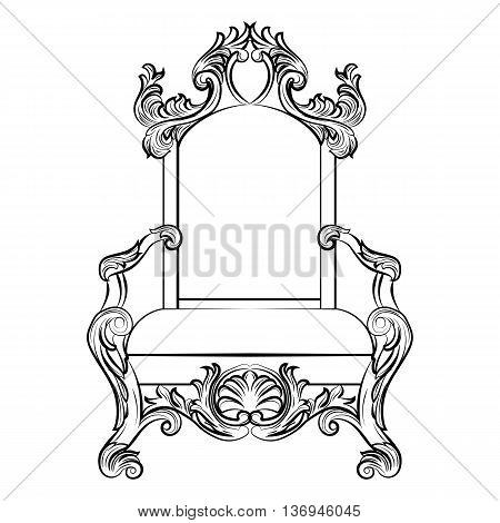 Baroque luxury style furniture. Chair throne with luxurious rich ornaments. French Luxury rich carved ornaments furniture. Vector Victorian exquisite Style furniture. Vector sketch poster