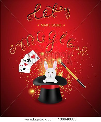 Magician hat with a magic wand, magic shine and white rabbit on a red background with a place for your text. Magic show template.Vector illustration