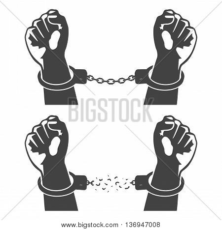 On the image is presented Human hands in handcuffs