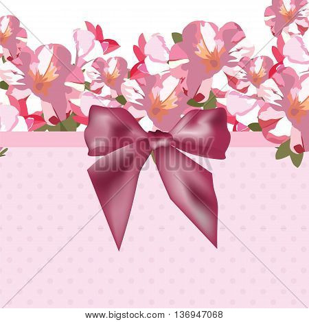 Pink flowers bouquet card with shinny bow. Watercolor flowers illustration. Vintage Elegant Card illustration for Women's day birthday Wedding Ceremony Anniversary