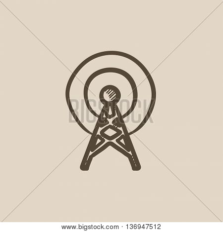 Antenna vector sketch icon isolated on background. Hand drawn Antenna icon. Antenna sketch icon for infographic, website or app.