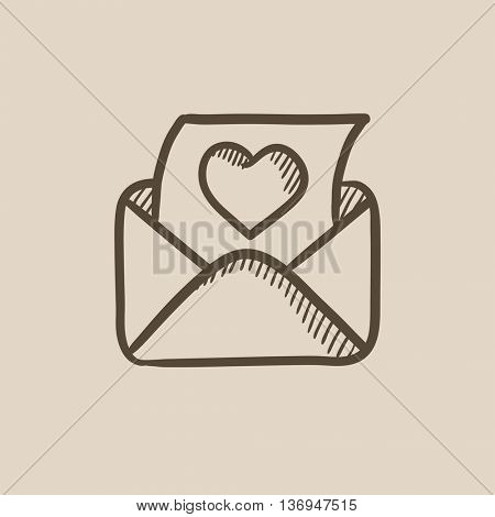 Envelope mail with heart vector sketch icon isolated on background. Hand drawn Envelope mail with heart icon. Envelope mail with heart sketch icon for infographic, website or app.