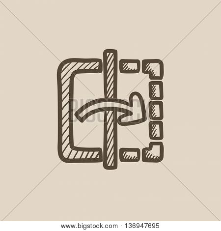 Mirror reflection vector sketch icon isolated on background. Hand drawn Mirror reflection icon. Mirror reflection sketch icon for infographic, website or app.