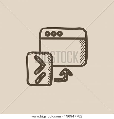 Browser window with terminal startup vector sketch icon isolated on background. Hand drawn Browser window with terminal startup icon. Browser window sketch icon for infographic, website or app.