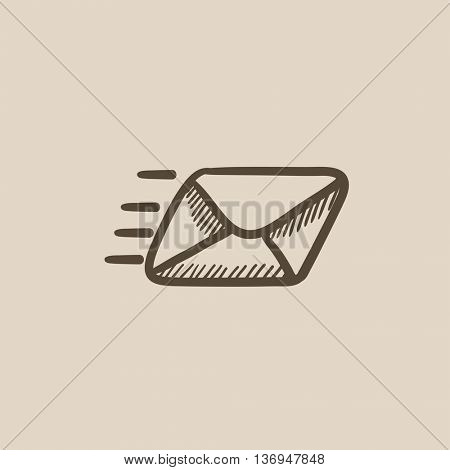 Flying email vector sketch icon isolated on background. Hand drawn Flying email icon. Flying email sketch icon for infographic, website or app.