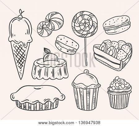 Vintage sweet desserts. Hand drawn cakes, cupcakes, tarts, candy