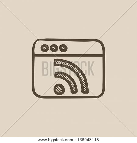 Browser window with wi fi sign vector sketch icon isolated on background. Hand drawn Browser window with wi fi sign icon. Browser window with wi fi sign sketch icon for infographic, website or app.