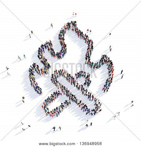Large and creative group of people gathered together in the shape of fire, flame. 3D illustration, isolated against a white background.