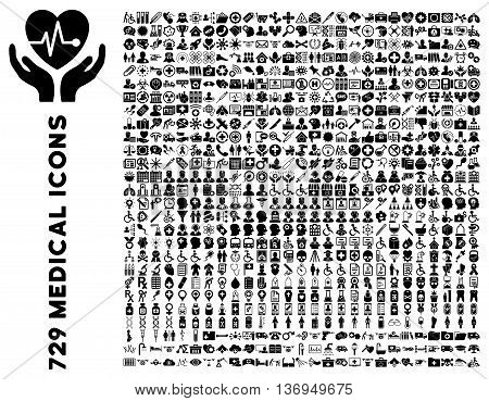 Medical Icon Clipart with 729 vector icons. Style is black flat icons isolated on a white background.