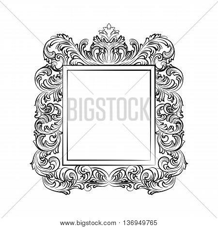 Exquisite Baroque Rococo Mirror frame. Vector French Luxury frame with rich carved ornaments. Wall Frames decor. Victorian wealthy Style frame