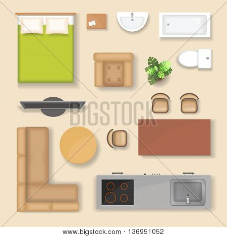 Set top view for interior icon design. Isolated Vector Illustration with sofa armchair couch