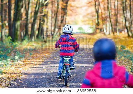 Two little kids boys, best friends in autumn park cycling with bikes. Active siblings, children with bicycles. Best friends enjoying sunny warm day.