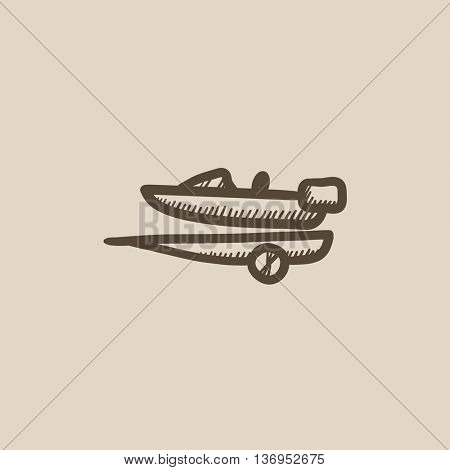 Boat on trailer for transportation vector sketch icon isolated on background. Hand drawn Boat on trailer for transportation icon. Boat on trailer sketch icon for infographic, website or app.