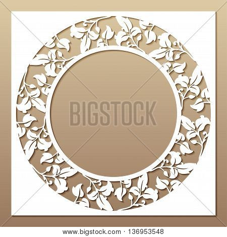 Openwork white frame with leaves. Laser cutting template for greeting cards envelopes wedding invitations decorative elements.
