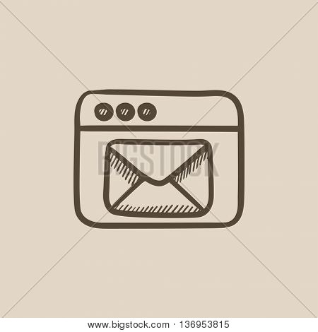 Browser window with electronic mail vector sketch icon isolated on background. Hand drawn Browser window with email icon. Browser window with email sketch icon for infographic, website or app.