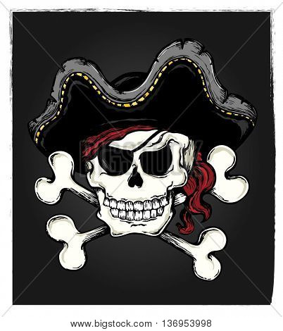 Vintage pirate skull theme 3 - eps10 vector illustration.