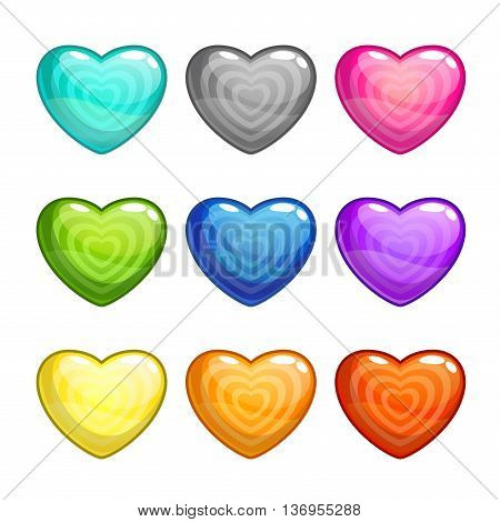 Cartoon colorful glossy hearts set, vector heart icon isolated on white, heart shape candy set for game design