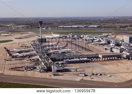 LONDON UK - APR 20 2016: Aerial view of a terminal at the London Heathrow international airport. Hillingdon England United Kingdom.