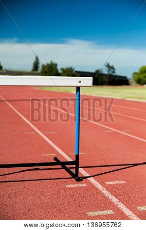Close-up of a hurdle on running track