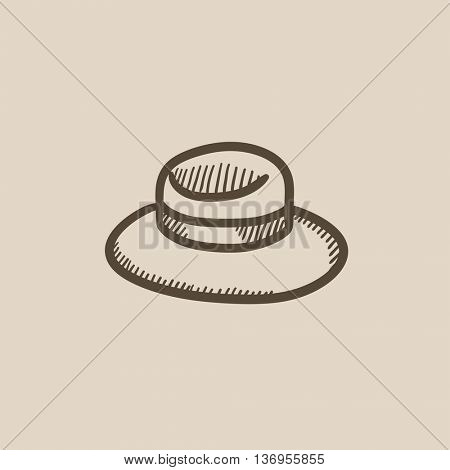 Summer hat vector sketch icon isolated on background. Hand drawn Summer hat icon. Summer hat sketch icon for infographic, website or app.