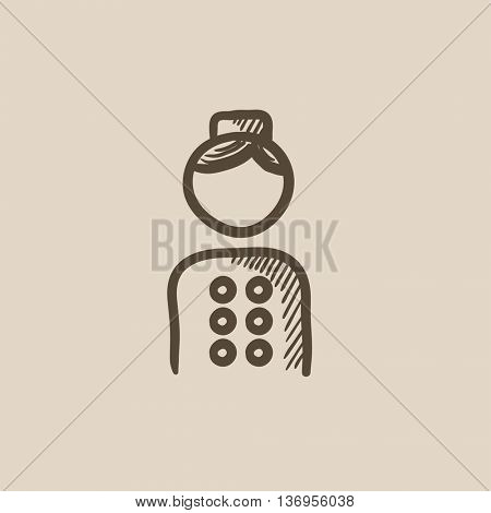 Bellboy vector sketch icon isolated on background. Hand drawn Bellboy icon. Bellboy sketch icon for infographic, website or app.