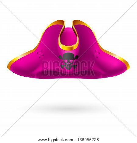 Magenta cocked hat with pirate symbol of skull and crossed bones