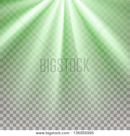 Green flare. Glaring effect with transparency. Abstract glowing light background. Ready to apply. Graphic element for documents, templates, posters, flyers. Vector illustration