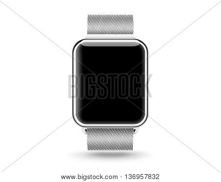 Smart watch blank screen mock up isolated 3d illustration. Steel hand clock mockup metal band. Smartwatch design presentation empty display template. Sport wrist watch clear touchscreen device icon. Time bracelet.