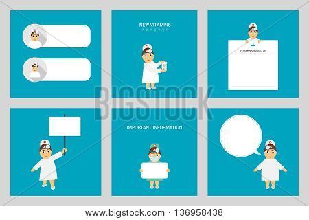 Set Otolaryngologist. Profession. Woman doctor in different poses. Important information from doctor.