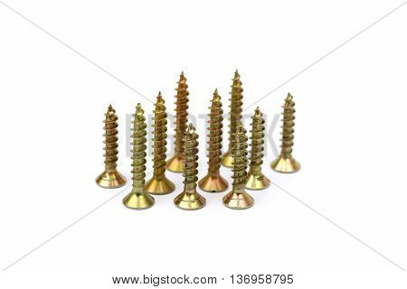 Scattered wood screws isolated on white background