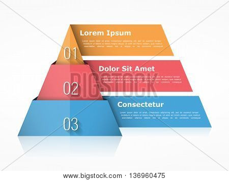Pyramid chart with three elements with numbers and text, pyramid infographic template, pyramid diagram for presentations, vector eps10 illustration