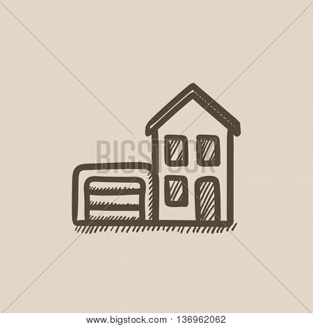 House with garage vector sketch icon isolated on background. Hand drawn House with garage icon. House with garage sketch icon for infographic, website or app.
