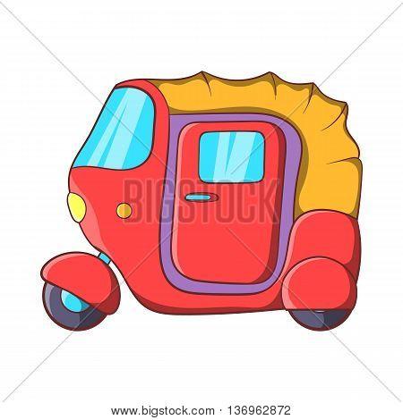 Auto rickshaw icon in cartoon style on a white background
