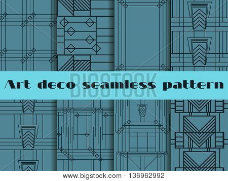 Art Deco Seamless Patterns. Art Deco Geometric Seamless Pattern. Set Retro  Backgrounds. Style 1920'