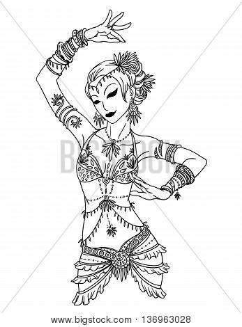 Tribal Dancer or Belly Dancer Girl. Vector Illustration of Tribal Dancer or Belly Dancer Girl in Hand Drawn Style. Belly Dancer Girl in Costume in Tribal Style with Accessories.