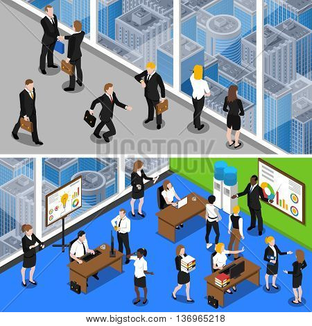 Business people at work two horizontal isometric with office managers and administrative personnel abstract isolated vector illustration