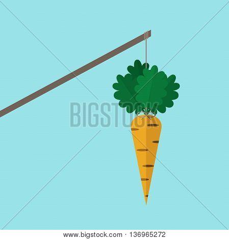 Orange carrot hanging on stick on blue background. Incentive motivation concept. Flat design. Vector illustration. EPS 8 no transparency