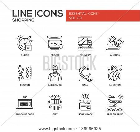 Set of modern vector plain line design icons and pictograms of shopping process elements. Online, secure, delivery, auction, coupon, assistance, call, location, tracking, gift, money back shipping